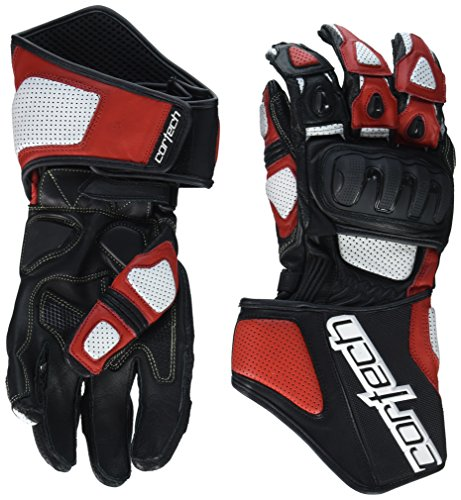 (Cortech Impulse RR Men's Leather Racing Motorcycle Gloves (White/Red,)