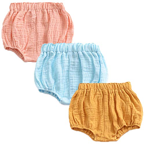 REWANGOING 3 Pack of Baby Infant Kids Girl Soild Cotton Linen Blend Soft Ruffle Bloomer Shorts Pants 110cm