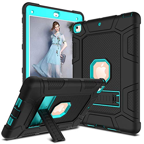 DONWELL Compatible for iPad 6th / 5th Generation Case 9.7 inch 2017/2018 Shockproof Defender Protective Case Cover with Kickstand for 9.7 A1893 A1823 A1822 (Type1- Black & Light Blue)