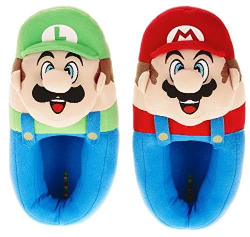 Super Mario Bros Children's Plush Mario and Luigi Musical Slippers, (13/1, Multi) (Mario Plush Slippers)