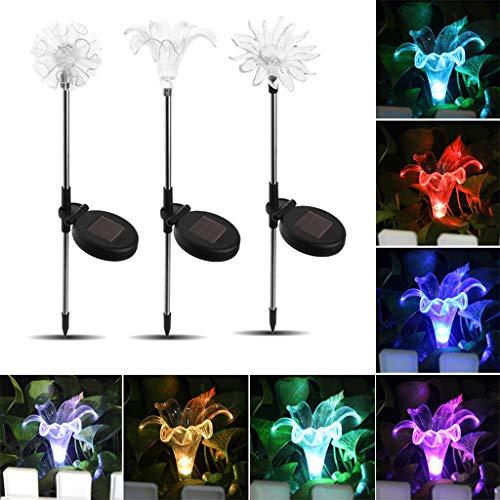 Solar LED Lawn Light Lily + Dandelion + Sunflower Garden Flower Outdoor Decoration Light String Lantern Fairy Light 3 Pack ()
