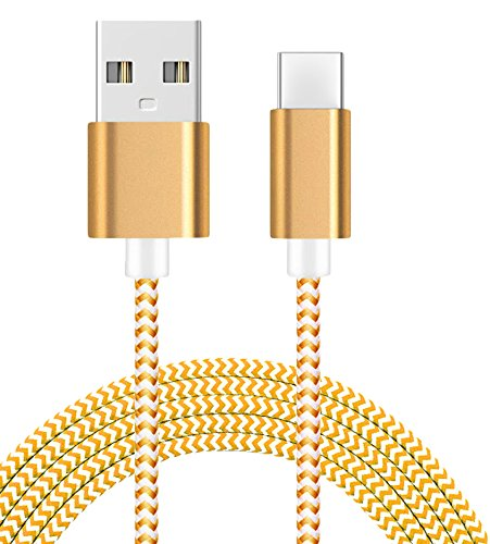 AMZER High Speed USB Type C Data Sync Charging Braid Cable  3 Feet/ 1 Meter    Golden