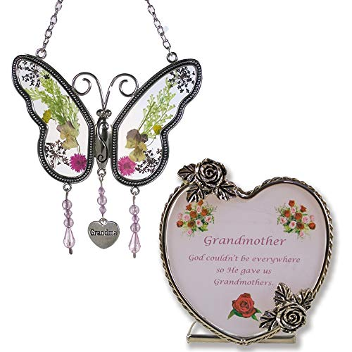 (Grandma Butterfly Suncatcher & Candle Holder Gift Set - Metal & Glass - Butterfly Has Real Pressed Flowers in Wings - Hanging Charm with Grandma Engraved - Grandma to Be - Mother-in-law )