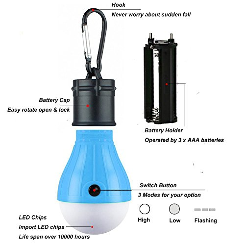 4 Pack LED Camping Lantern Portable Flashlight 3 Modes Lamp for Indoor and Outdoor Decoration Backpacking Camping Fishing Gear Tent Bulb Courtyard Emergency Light Battery Powered by HANGSUNG (Image #2)