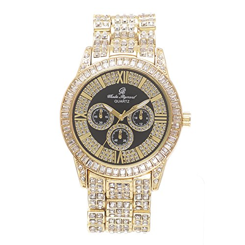 (Bling-ed Out Mens Hip Hop Baguette Rhinestones Iced Out Gold Watch - 8704 Gold)