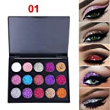 LiPing 15 Color Sequins Eye Shadow Dust Powder Flash Party Cosmetic/Magic Finish to Apply and Grace Your Face Eye Shadow Pigment for Women (A)