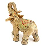Vintage Gold Buddha Resin Elephant Statue Ornament Figurine For Home Office Desk Cabinets Decor