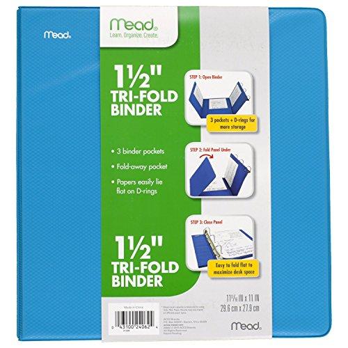 Mead 1-1/2 Inch 3 Ring Binder, Tri-Fold, 3 Pockets, Blue (38872)