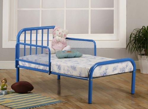 amazoncom kings brand blue finish metal toddler bed frame with rails baby - Metal Toddler Bed Frame