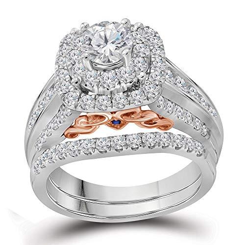 Diamond Engagement Ring + Wedding Band Bridal Set-1/20ct 14k White Gold (20 Carat Diamond Ring)