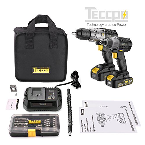 Combo Kit of TECCPO 20V Max TDHD01P Cordless Drill Driver 60Nm Max Torque, and TDID01P Impact Driver 180Nm Max Torque with 2x 2.0Ah Lithium-Ion Batteries, 30 Minute Fast Charger by TECCPO (Image #6)