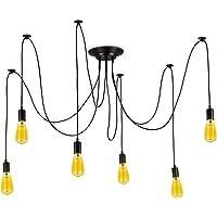 BarcelonaLED Lámpara de Araña Colgante Negro de Suspensión Estilo Vintage Retro…