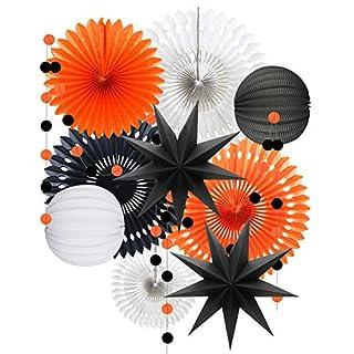 ADLKGG Orange White Black Halloween Decorations, Hanging Tissue Paper Fans Circle Garland Paper Lanterns for Graduation Wedding Anniversary Birthday Backdrop Decor
