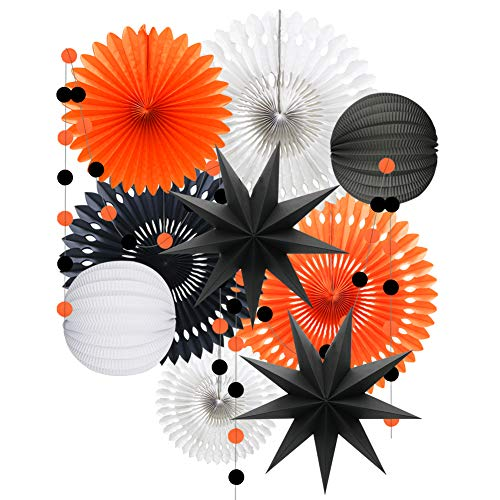 Halloween Tissue Paper Garland (Orange White Black Halloween Decorations, Hanging Tissue Paper Fans Circle Garland Paper Lanterns for Graduation Wedding Anniversary Birthday Backdrop)