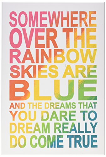 The Kids Room By Stupell Somewhere Over Rainbow Ombre Typography Wall Plaque - Lithograph Over Wood