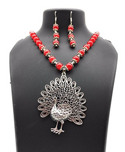 Satyam Kraft Women's Traditional Kundan Red Pearl Necklace With Big Size Peacock Pendant Set Wedding Diwali Tra Standard Red by Satyam Kraft