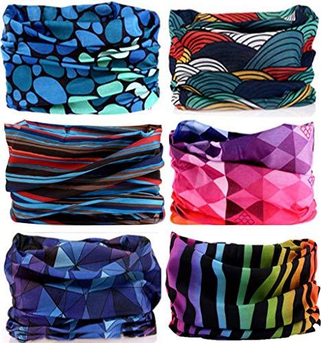 KALILY 6PCS Headband Bandana - Versatile Sports & Casual Headwear –Multifunctional Seamless Neck Gaiter, Headwrap, Balaclava, Helmet Liner, Face Mask for Camping, Running, Cycling, Fishing etc