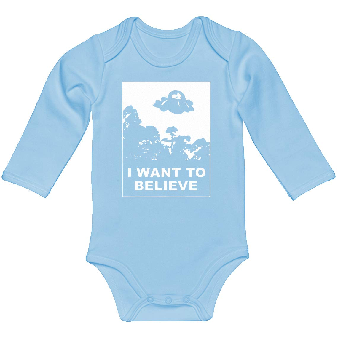 Baby Romper I Want to Believe Morty 100/% Cotton Long Sleeve Infant Bodysuit