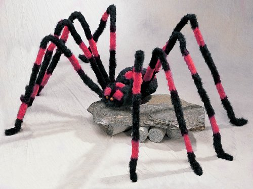 GIANT HALLOWEEN RED AND BLACK HAIRY SPIDER - 7 1/2 FEET WIDE!! ()