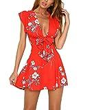 #9: Vaniglia Women Floral Print Sleeve Sexy Deep V-Neck Tunic Top Casual Mini Dress