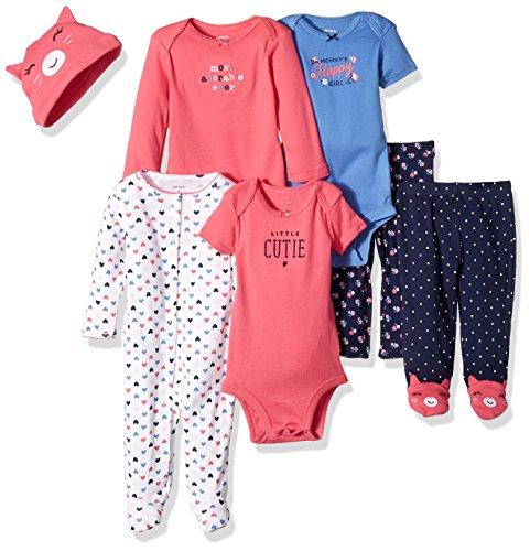Carter's Girls' 7-Piece Set with Bodysuits, Pink Cat, Newborn