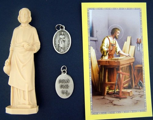 Religious Gifts St Joseph Statue Home Seller Selling Kit Saint House Figurine and Instruction Prayers and Medal ()