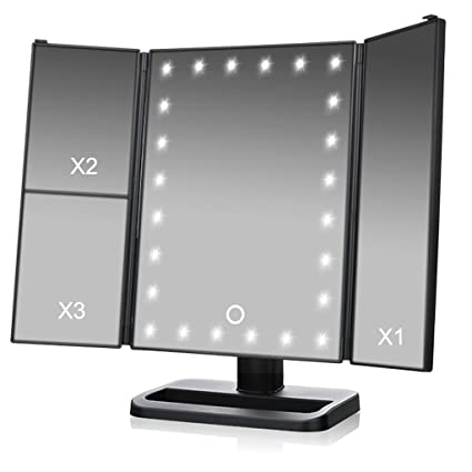 Three Fold Makeup Mirror With Lights