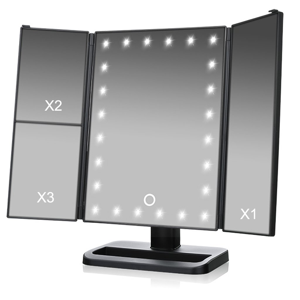 TVictory 3rd Gen Tri-Fold Lighted Mirror with 24 LEDs Lights for Makeup Vanity Cosmetic, Touch Screen and 3X/2X/1X Magnification, 180 Degree Free Rotation, 2 Power Supply Options, Black by TVictory