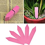 HeroNeo New 100 Pcs 4Inch Plastic Plant Seed Labels Pot Marker Nursery Garden Stake Tags (Pink)