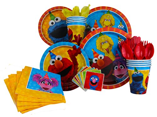 Sesame Street Party Pack Seats 8 - Napkins, Plates, Cups, Cutlery & Stickers - Sesame Street Party Supplies, Deluxe Party (Baby Sesame Street Party Supplies)