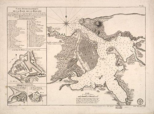 1791 18 x 23 Old Vintage Antique Map of Carte hydrographique de la baye de la Havana. Avec le Plan de la Ville et de SES forts Pour joindre a la Carte de l'isle de Cube. Dress_e au D_Pot des Cartes e
