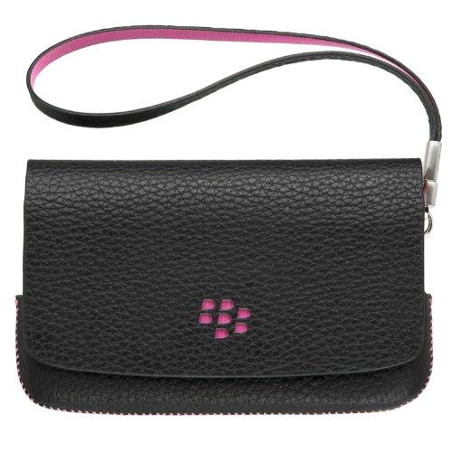 Blackberry ASY-31014-001 Original Leather Folio Pouch Case for Blackberry Torch 9800/9810 - 1 Pack - Bulk Packaging - Black/Pink (Blackberry Skin Torch)