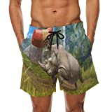 DJROW Rhinoceros and Target Bag Men's Quick Dry Beach Shorts Swim Trunk Beachwear with Pockets