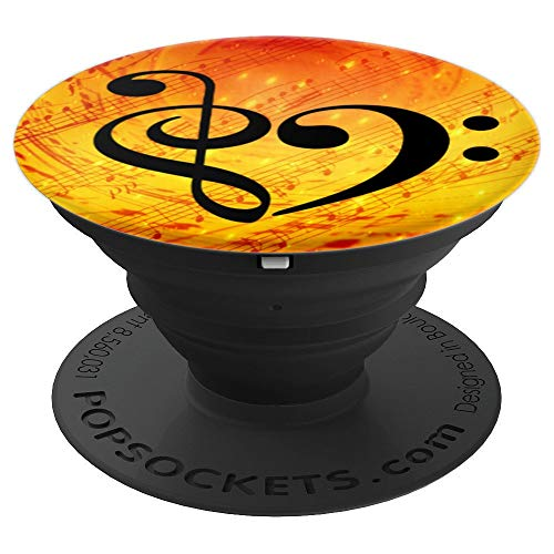 Treble Clef Bass Clef Heart Sunny Orange Sheet Music Bassist PopSockets Grip and Stand for Phones and Tablets