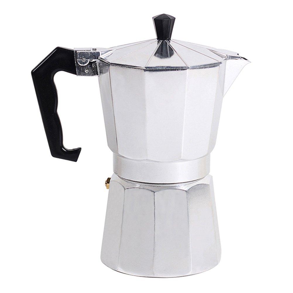 Awhao Stovetop Espresso Maker Italian Type Octagonal Household Aluminum Espresso Percolator Maker (300ML)