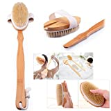 Cisixin Natural Wood Bristle Spa Bath Shower Body Brush Detachable,Long Handle
