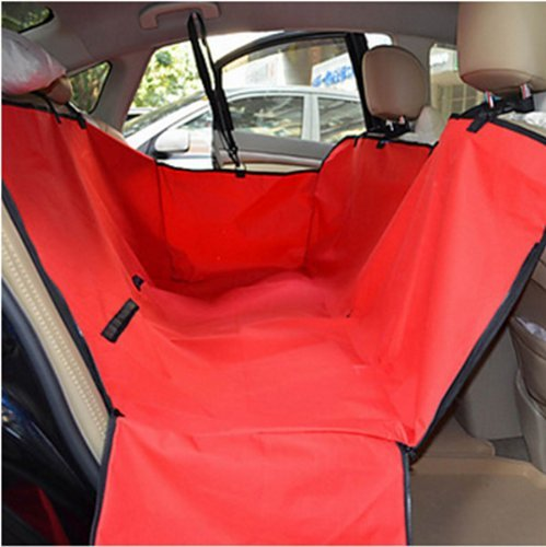 Red Waterproof Dog Seat Cover for Cars Backseat Pet Predect Hammock Washable Adjustable Dog Cat Safety Travel Blanket Mat Cover (Red)
