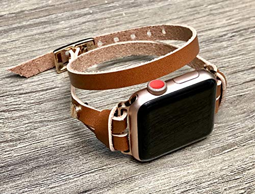 Light Brown Leather Rose Gold Jewelry Hardware Bracelet for Apple Watch All Series 38mm 40mm 42mm 44mm Handmade Double Wrap iWatch Band Adjustable Size Women Strap Apple Watch - Series Hardware Gold All