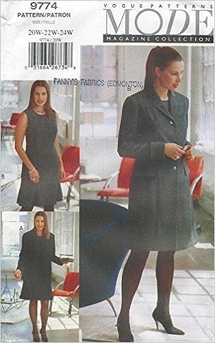 Vogue Sewing Pattern 9774 Womens Jacket Dress Plus Size 20w22w