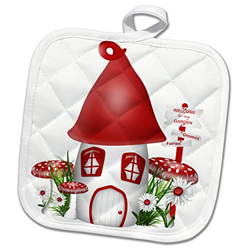 Red White Mushroom (3dRose Cute Little Red and White Mushroom Gnome Home Illustration Potholder, 8 x 8