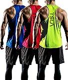 TSLA CLSX Men's Dry Fit Y-Back Muscle Workout Tank