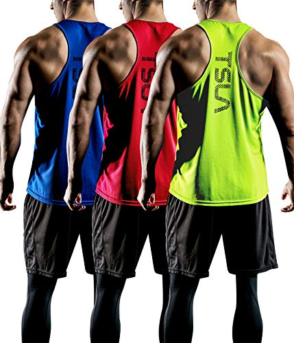 TSLA Men's (Pack of 1 or 3) Workout Muscle Tank Sleeveless Gym Training Active Workout Cool Dry Top Shirt, Active Y-Back 3pack(mtn33) - Blue & Red & Neon, - Top Tank Running T-shirt