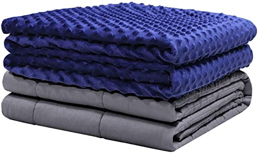 for Adult Women and Men with Removable Cover Grey Rhombus 60x80 Weighted Idea Minky Weighted Blanket 25 lbs