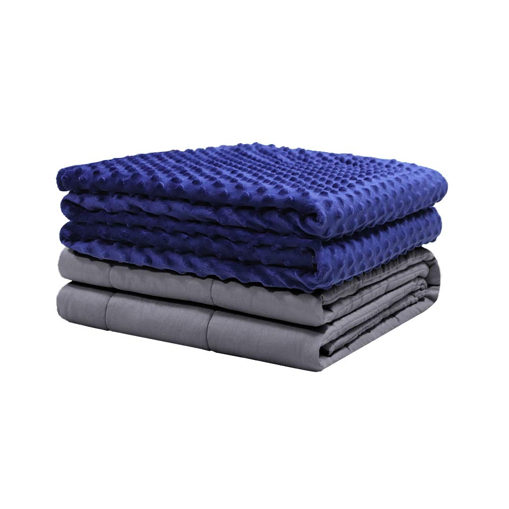 Weighted Idea Soft Weighted Blanket with Cover 15 lbs for Adults 48''x72'' Grey/Navy Blue Dot (Weighted Blanket + A Duvet Cover)