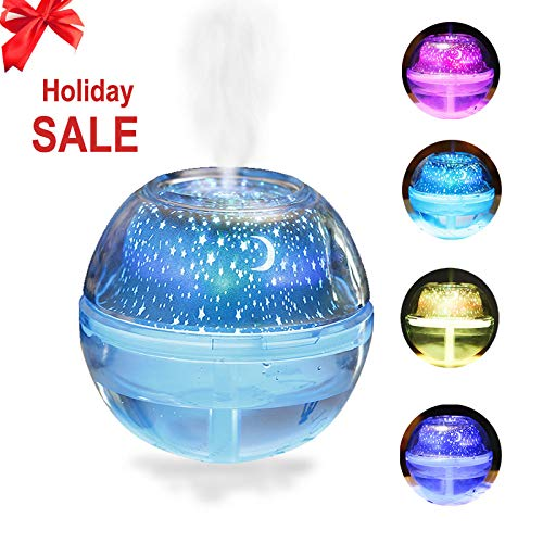 Wpunwen Portable Ultrasonic USB Charging Quiet Desktop 500ml Humidifier Crystal Ball Starry Sky Projection 10 Hours Continuous Mist Spray at Bedroom Office Dorm Color Conversion LED Night Light ()
