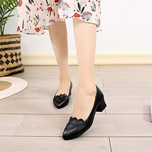 bottom single pointed ladies with EU and shoes soft black shallow mouth casual leather Spring FLYRCX shoes work fashion 38 autumn a YBqK1Z