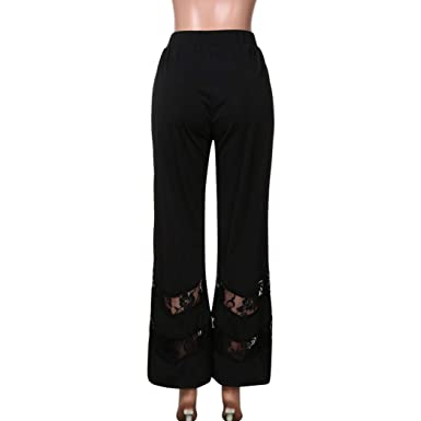 155d2be09f7 Womens Plus Size Sexy High Waist Leggings Trousers Lace Panel Casual Flare Trousers  Loose Black Fashion Sexy Casual Pants  Amazon.co.uk  Clothing