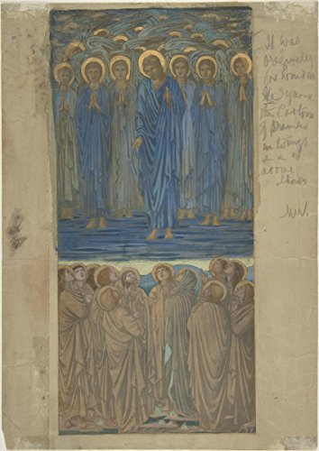Historic Pictoric Fine Art Print | Sir Edward Burne-Jones | Ascension of Christ (Acts I, 1-9): Study for Stained-Glass Window | Vintage Wall Art | 11in x 14in