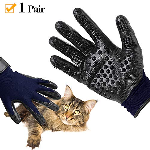 Pet Grooming Gloves, Pet Hair Glove Remover Mitt Gentle De-Shedding Brush Glove, Pair of Flexible Brush Mitts for Shedding, Bathing, Massaging & Hair Removal for Long or Short Hair Cat, Horse & Dog
