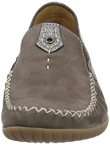 Gabor California N, Women's Court Shoes Grey Nubuck/Grey Metallic Leather